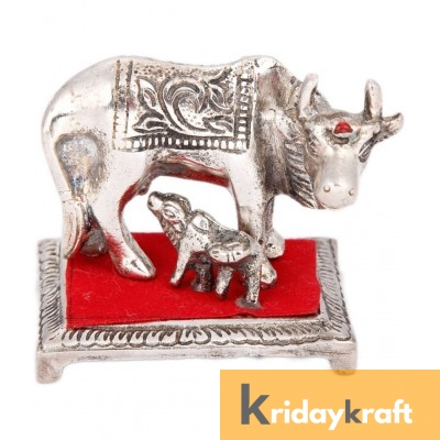 Kamdhenu Cow Mini squre base Silver Plated