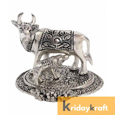 kamdhenu cow and calf Flowerbase Silver Plated