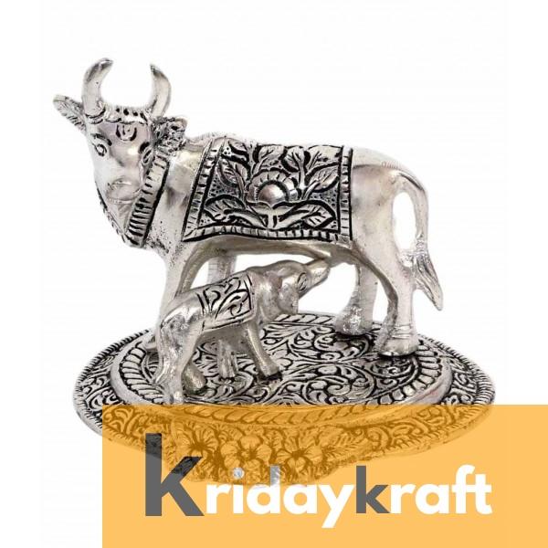 kamdhenu cow and calf Flowerbase Silver Plated