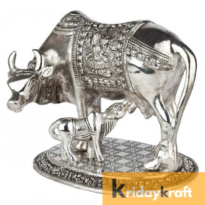 Kamdhenu Cow with Calf Xl Silver Plated Statue for Good Luck