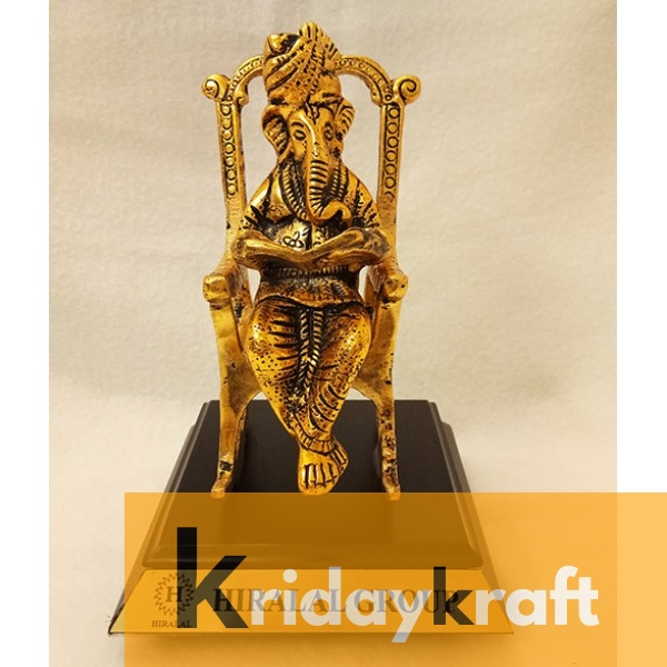 Metal Handicraft Lord Ganesha on Chair Reading Ramayan Om Shubh labh Figurine with wooden base