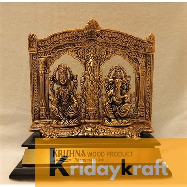 Metal Royal Laxmi Ganesh Statue on wooden base for coporate gifts