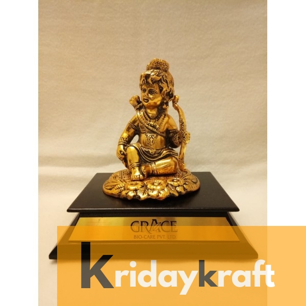Wooden Base Bal Roop of Lord Ram With Dhanush Gold Plated for Gifts