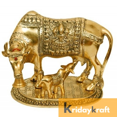 Kamdhenu Cow with Calf Xl Gold Plated Statue for Good Luck