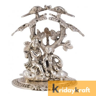 Tree Radha Krishna Sitting Silver Plating Showpiece Statue playing flute under tree for Home Decorative Item