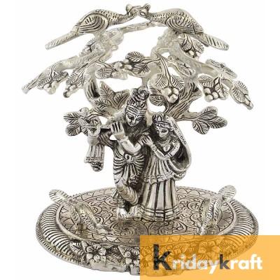 Tree Radha Krishna Standing Silver Oxidized