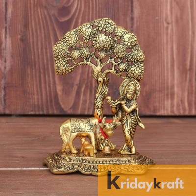 Krishna with kamdhenu Cow Standing Under Tree Plying Flute