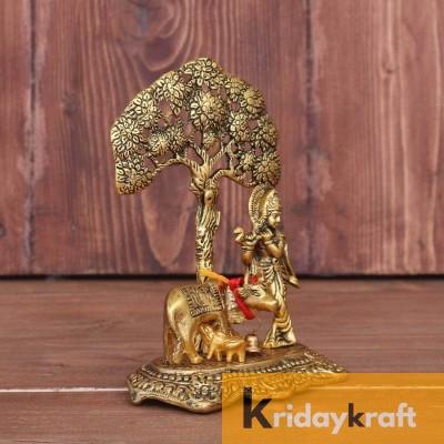 Krishna with kamdhenu Cow Standing Under Tree Plying Flute