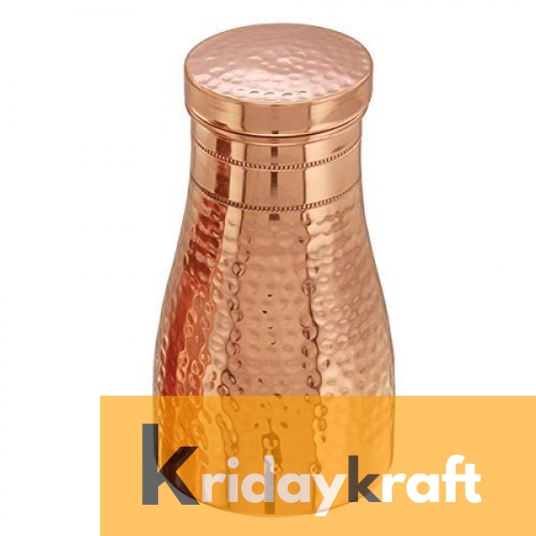 Hammered Finish Pure Copper Bedroom Bottle with Inbuilt Glass Copper Vessel for Drinking Water Copper Water Jug Copper jug with Glass