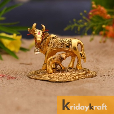 kamdhenu cow and calf Flowerbase Gold Plated